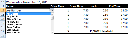 drop-down list in Excel in action